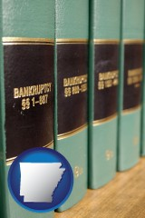 arkansas map icon and bankruptcy law books