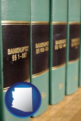 arizona map icon and bankruptcy law books