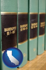 california map icon and bankruptcy law books