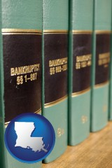 louisiana map icon and bankruptcy law books