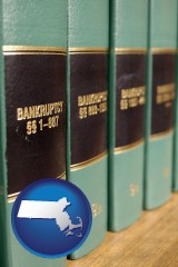massachusetts map icon and bankruptcy law books