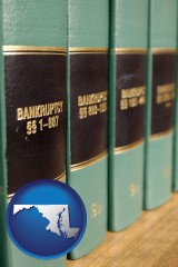 maryland map icon and bankruptcy law books