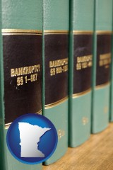 minnesota map icon and bankruptcy law books
