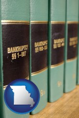 missouri map icon and bankruptcy law books
