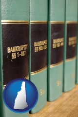 new-hampshire map icon and bankruptcy law books
