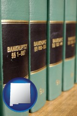 new-mexico map icon and bankruptcy law books